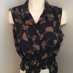 EP Pro Button Up Top Pineapple Print Large
